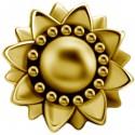 Embout motif fleur tournesol acier doré or fin pour barre 1,2 mm avec pas de vis interne 0,8 mm GPIA05