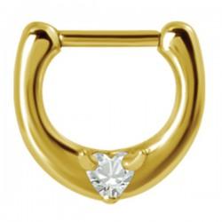 Anneau avec 1 strass blanc en coeur pour septum acier 316L doré or fin GPBHJ 05