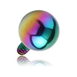 Boule acier anodisé coloré, pour barre 1,6 mm pas de vis interne 1,2 mm INAB