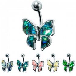 Bijou nombril papillon mosaique acier 316L BNM 02