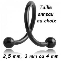 Anneau ouvert spirale avec 2 boules à visser acier noir 1,2 mm BKMSP