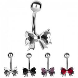 Bijou nombril noeud papillon 2 strass coeur acier 316L BBZ 42