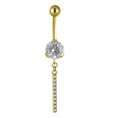 Bijou nombril pendant avec chainette et strass acier doré or fin GPBN 39