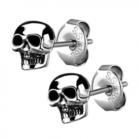 Boucles d'oreille acier 316L forme crâne ESBX 25