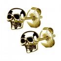Boucles d'oreille acier doré or fin forme crâne ESBX 24