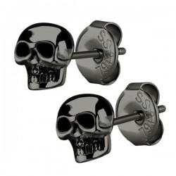 Boucles d'oreille acier noir forme crâne ESBX 26