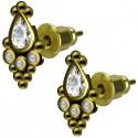 Boucles d'oreille laiton motif décoratif ethnique et strass ESBX 20