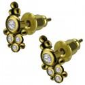 Boucles d'oreille laiton motif décoratif ethnique et strass ESBX 18
