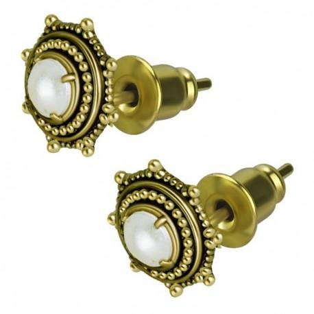 Boucles d'oreille laiton motif rond ethnique et perle synthétique ESBX 28