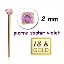 Bijou piercing nez plat avec strass saphir violet griffé tige droite or 18 carats 18NOJ1PSA