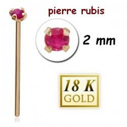 Bijou piercing nez plat avec strass 2mm rubis griffé tige droite or 18 carats 18NOJ1RU