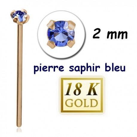 Bijou piercing nez plat avec strass saphir bleu griffé tige droite or 18 carats 18NOJ1SA
