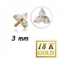 Embout fleur 3 brillants blancs sertis, pour micro dermal or 18 carats 18IAJ 9