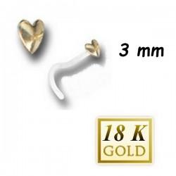 Bijou piercing nez plat motif coeur en or 18 carats et tige tire-bouchon Bioplast BONG 3 T-B