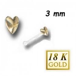 Bijou piercing nez plat motif coeur en or 18 carats et tige avec boule Bioplast BONG 3 A-B