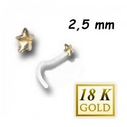Bijou piercing nez plat motif étoile en or 18 carats et tige tire-bouchon Bioplast BONG 4 T-B
