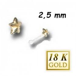 Bijou piercing nez plat motif étoile en or 18 carats et tige avec boule Bioplast BONG 4 A-B