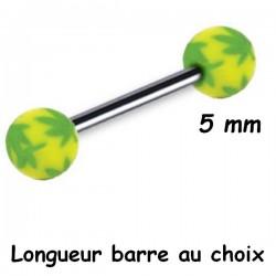 Barre 1,6 mm acier 316L boules dessin feuilles acrylique U.V. BLUPD 62