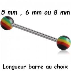 Barre 1,6 mm acier 316L boules couleur rasta acrylique BLRA