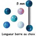 Barre 1,6 mm acier 316L boules opale synthétique BLOP