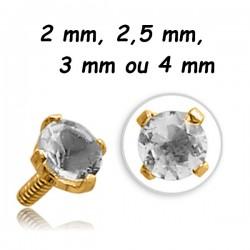 Brillant blant serti griffé acier doré or fin, pour barre 1,2 mm avec pas de vis interne 0,8 mm GPINMJP