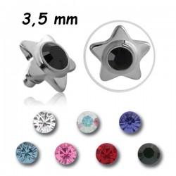 Embout plat acier 316L étoile avec brillant, pour barre 1,2 mm pas de vis interne 0,8 mm INMJS