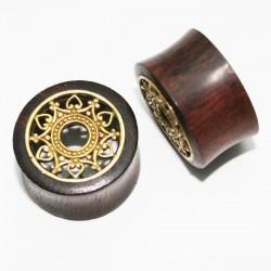 Plug incurvé bois motif ethnique laiton oreille gros diamètre IPW 30
