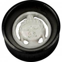 Plug incurvé bois tête bouddha corne oreille gros diamètre IWT 02