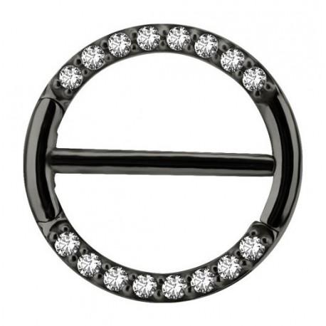 Bijou téton avec contour anneau strass- barre 1,6 mm acier noir BKSNC 16