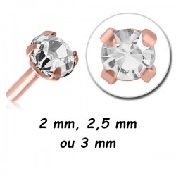 Embout plat avec brillant serti à clipper acier or rose ORJS
