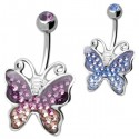 Bijou nombril acier 316L Crystal Evolution papillon strass AX BUTTERFLY