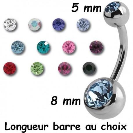 cartilage,lèvre,Traguis Arcade Piercing Spirale Acier Bleu  1.2x 8 mm billes