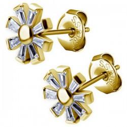 Boucles d'oreille acier doré or fin fleur avec strass blanc ESBX 32