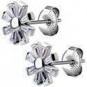 Boucles d'oreille acier 316L fleur avec strass blanc ESBX 31