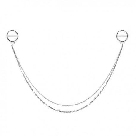 Bijou double pour téton avec contour anneau et chaines - barre 1,6 mm acier 316L SNC 18