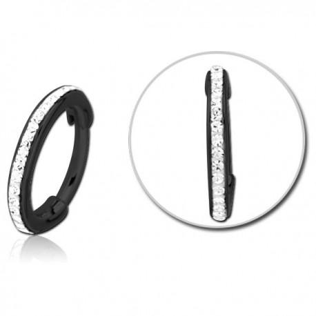 Anneau fermé avec strass de Swarovski ® résine epoxy sur contour acier noir BKBHCR 02