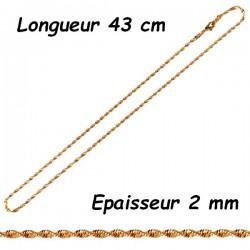 Chaine acier doré torsade 2 mm HC55D