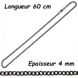 Chaine acier noir forçat 4 mm DBN