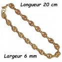 Bracelet acier doré fin grain de café 6 mm H10D