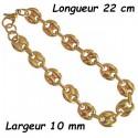 Bracelet acier doré gros grain de café 10 mm H12D