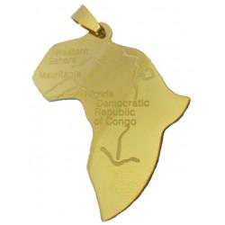 Pendentif Afrique acier dore FPD09D