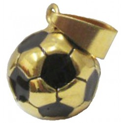 Pendentif ballon foot acier doré FPD135D