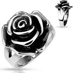 Bague en forme de rose acier Q8064
