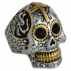 Bague tête de mort croix tête dragon et yeux strass noir acier et acier doré DB1688