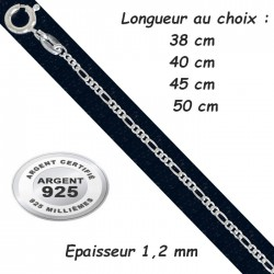 Chaine argent 925 maillons figaro diamantée 1,2 mm CH 21