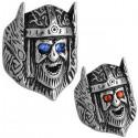 Bague tête de viking yeux strass bleu ou rouge acier DB 1990-N1-N2