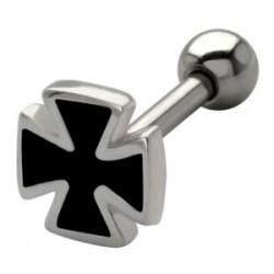 Bijou pour l'oreille acier 316L motif croix de malte / croix de fer TIP 403