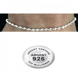 Chaine cheville argent 925 maille torsade miroir diamantée 2 mm CV 122