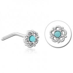 Bijou piercing nez motif fleur ethnique avec pierre turquoise tige pliée acier 316L JNO 06