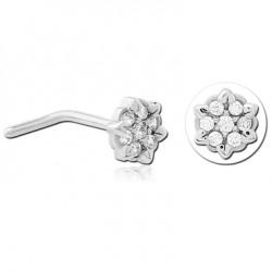 Bijou piercing nez motif fleur avec 7 strass serti tige pliée acier 316L JNO 08